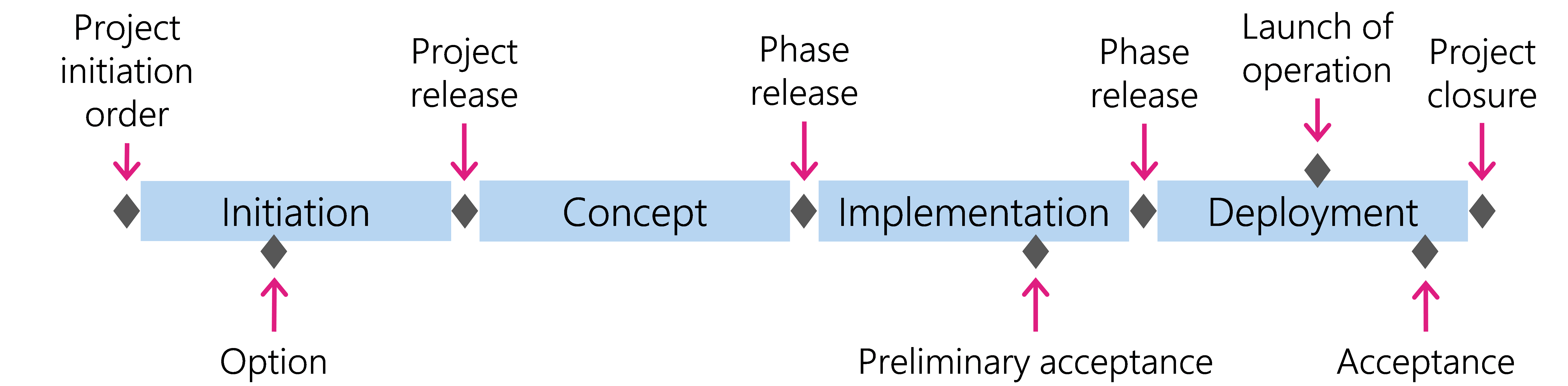 Figure 2: Project implementation in phases and with the help of milestones