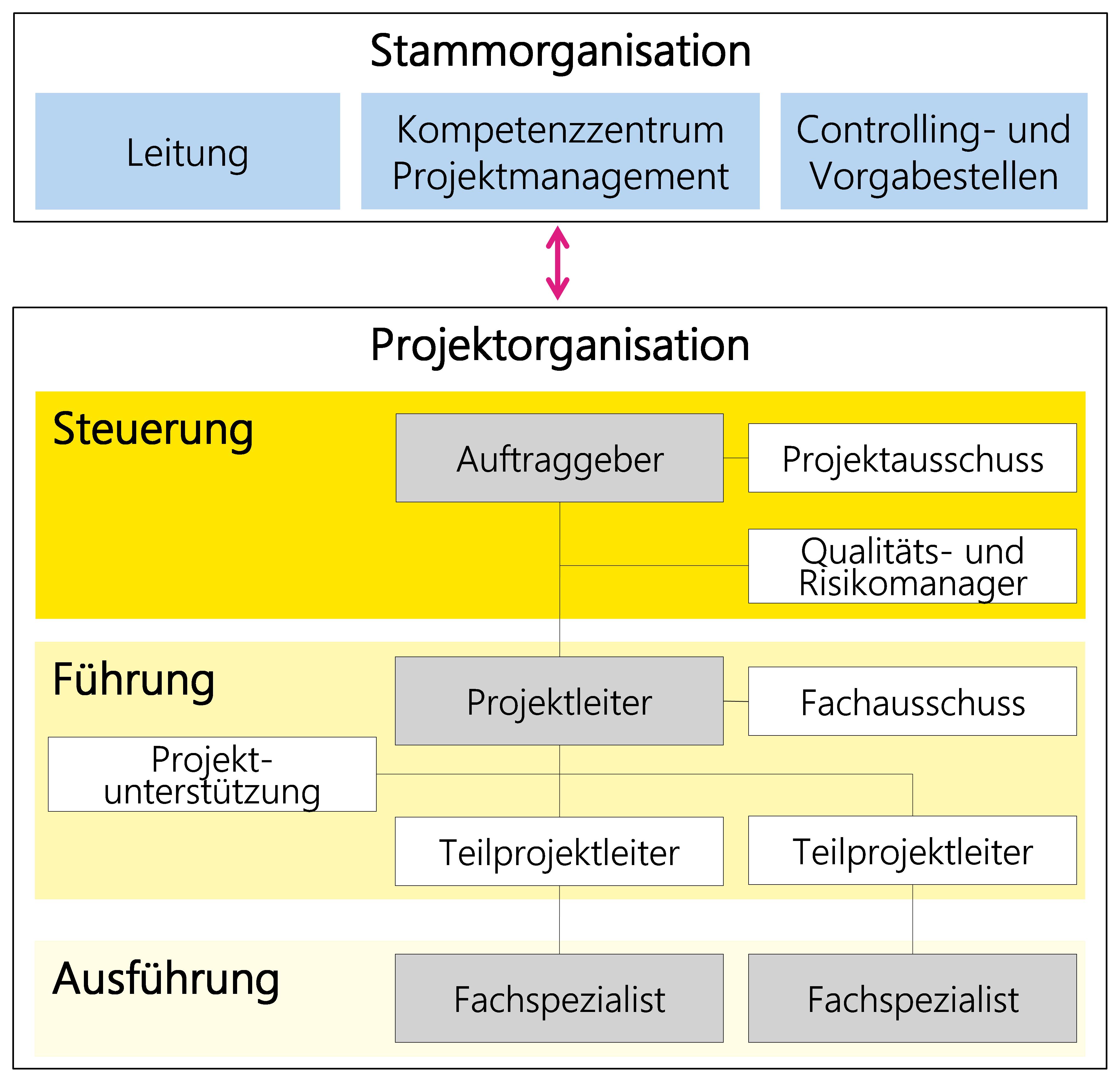 Abbildung 22: Beispiel einer Projektorganisation mit verschiedenen Rollen